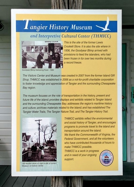 Tangier History Museum and Interpretive Cultural Center (THMICC) Marker image. Click for full size.