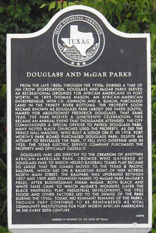 Douglass and McGar Parks Texas Historical Marker image. Click for full size.