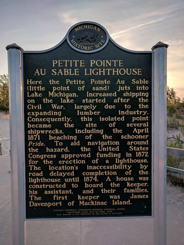 Petite Pointe Au Sable Lighthouse Marker - Side 1 image. Click for full size.