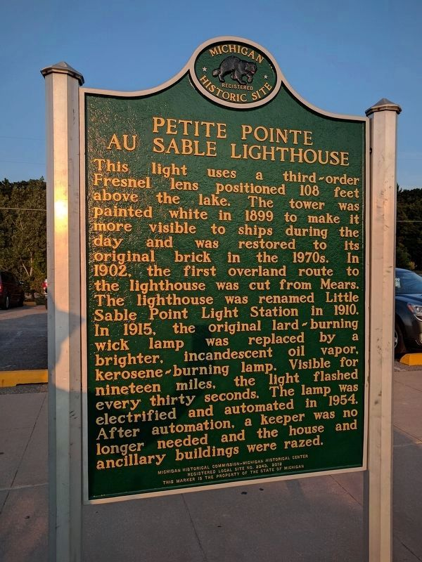 Petite Pointe Au Sable Lighthouse Marker - Side 2 image. Click for full size.