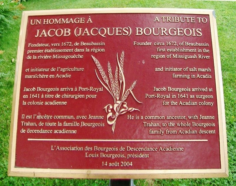 Un hommage à/A Tribute to Jacob (Jacques) Bourgeois Marker image. Click for full size.