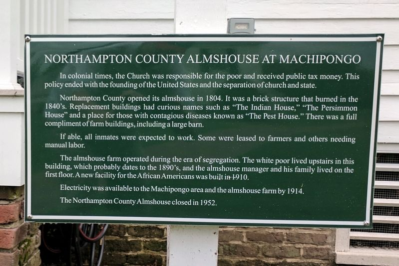 Northampton County Almshouse At Machipongo Marker image. Click for full size.