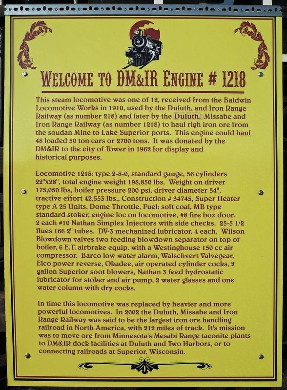 Welcome to DM&IR Engine # 1218 marker image. Click for full size.