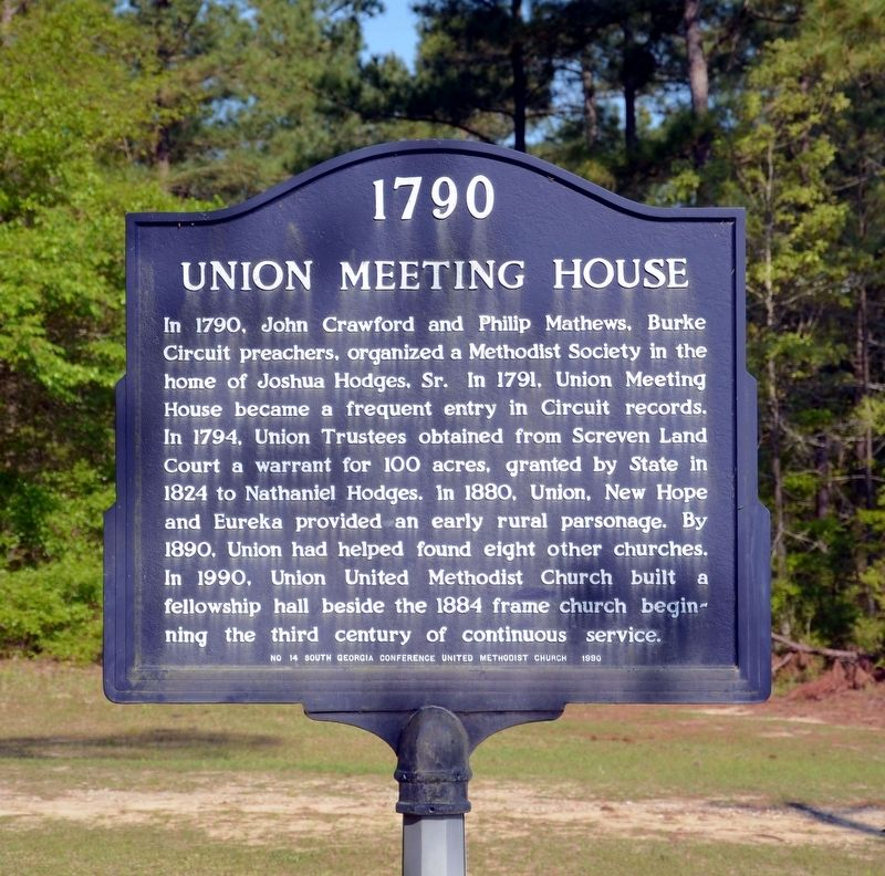 1790 Union Meeting House Marker image. Click for full size.