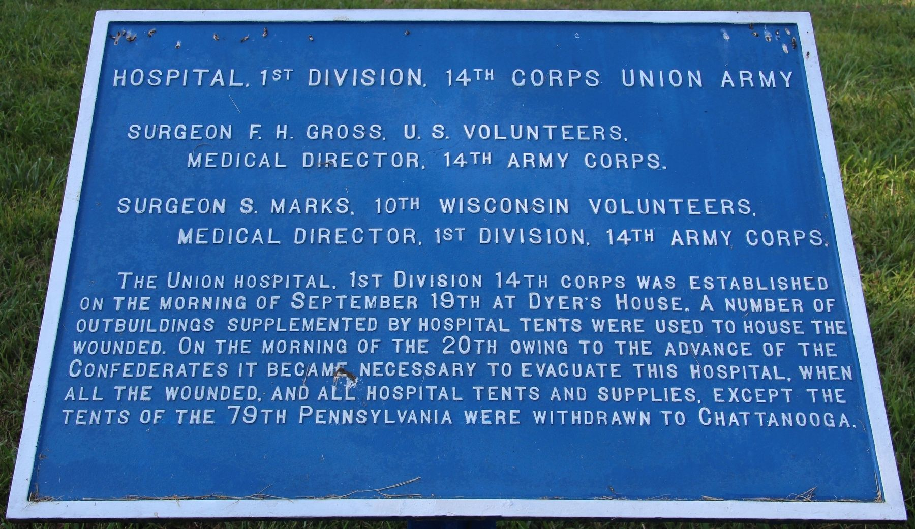 Hospital, 1st Division, 14th Corps Union Army Marker image. Click for full size.
