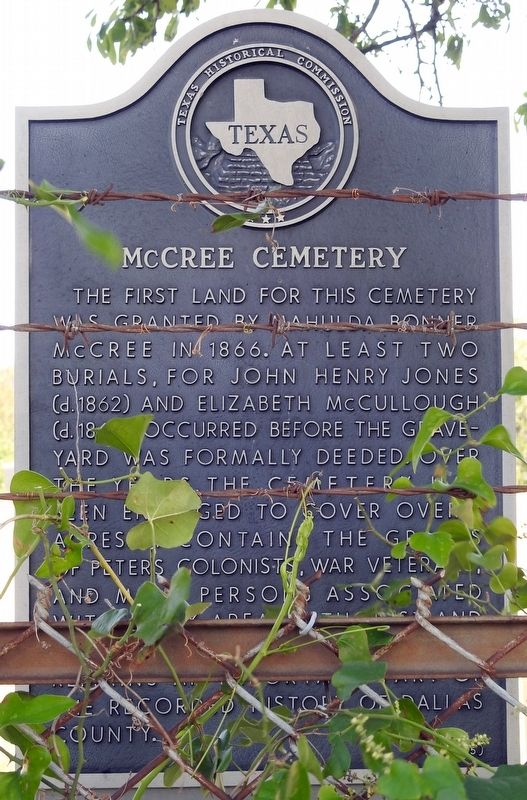 McCree Cemetery Texas Historical Marker image. Click for full size.