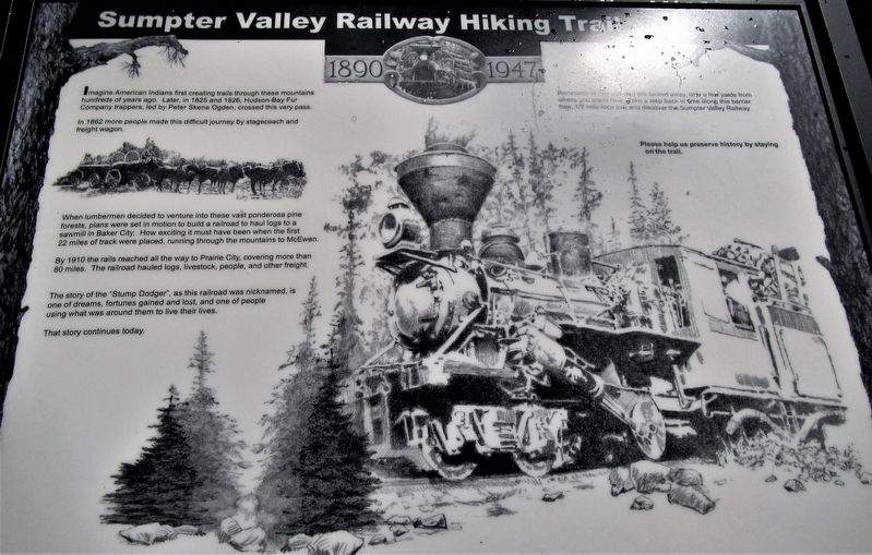 Sumpter Valley Railroad Hiking Trail Marker image. Click for full size.
