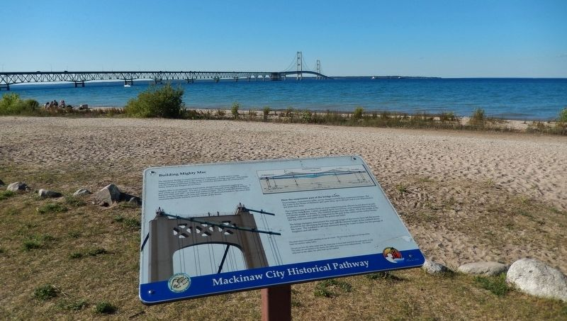 Building Mighty Mac Marker (<b><i>wide view with Mackinac bridge in background</b></i>) image. Click for full size.