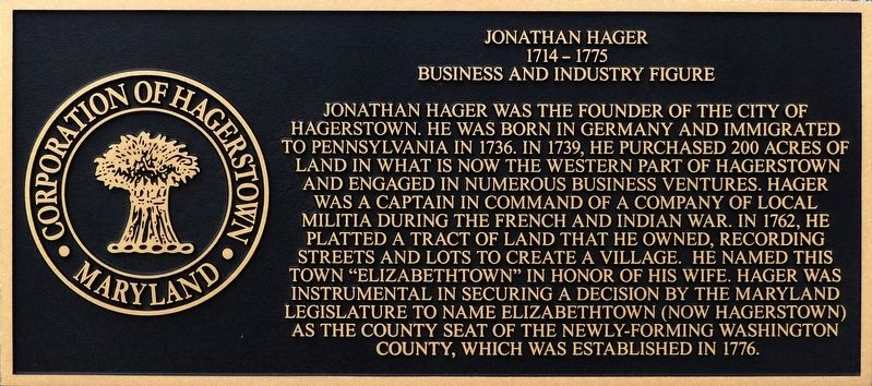 Jonathan Hager Marker image. Click for full size.