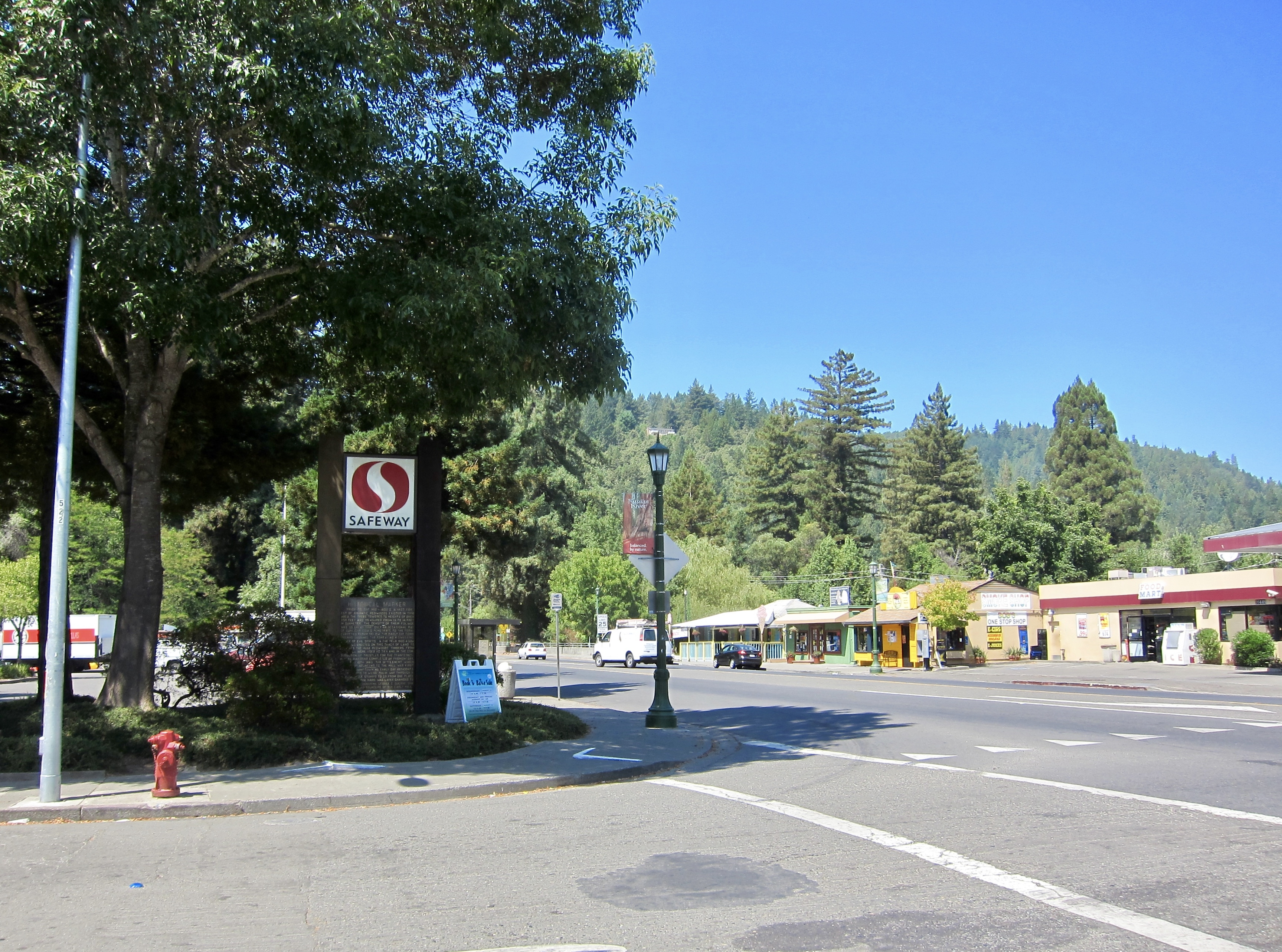 Guerneville Historical Marker Marker - Wide View, Looking West