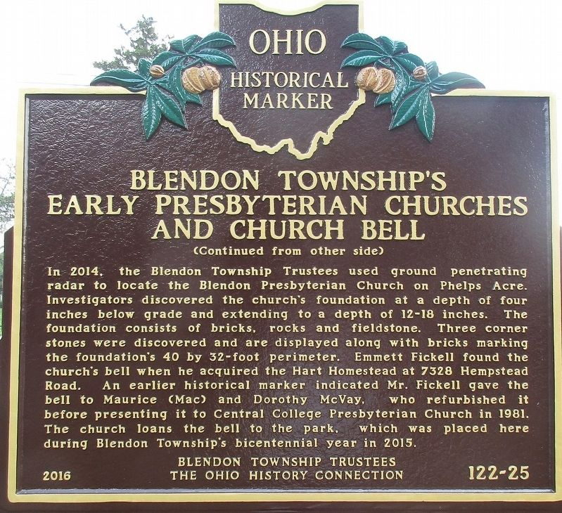 Blendon Township's Early Presbyterian Churches and Church Bell Marker image. Click for full size.