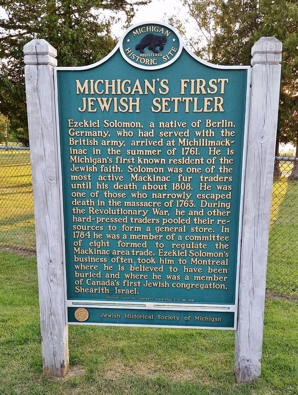Michigan's First Jewish Settler Marker image. Click for full size.