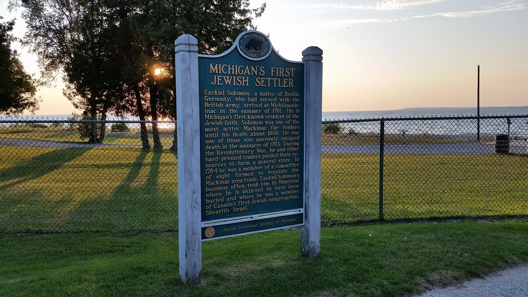 Michigan&#39;s First Jewish Settler Marker (<b><i>wide view</b></i>) image. Click for full size.