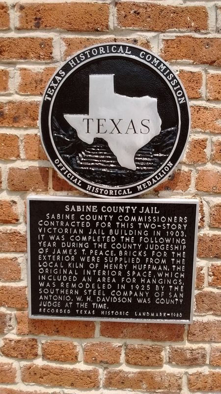 Sabine County Jail Marker image. Click for full size.