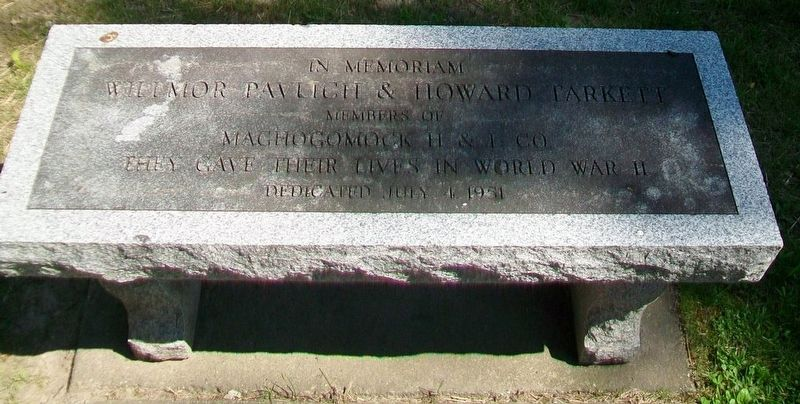 Willmore Pavlich & Howard Tarkett WWII Memorial Bench image. Click for full size.