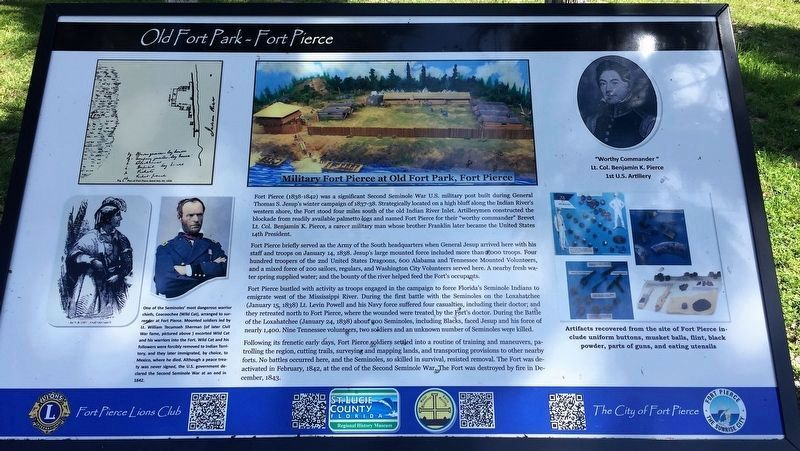 Military Fort Pierce at Old Fort Park, Fort Pierce Marker image. Click for full size.