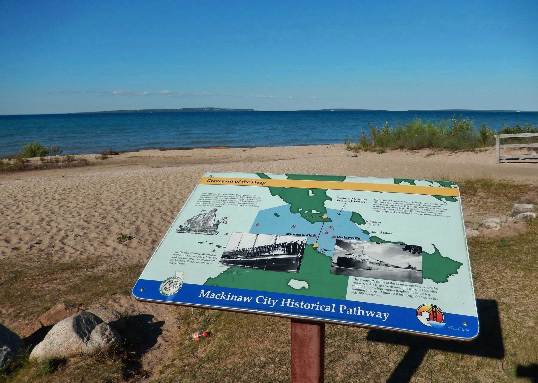 Graveyard of the Deep Marker (<b><i>wide view looking north toward Mackinac Island</b></i>) image. Click for full size.