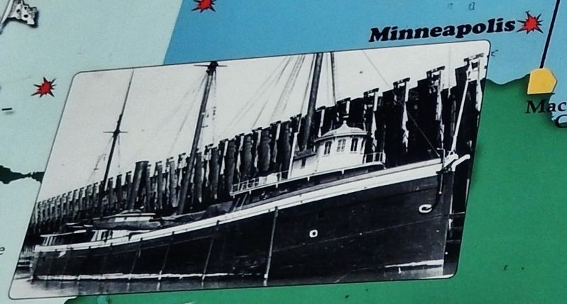 Graveyard of the Deep Marker (<b><i>Steamer Minneapolis detail</b></i>) image. Click for full size.