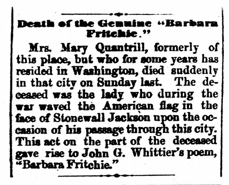 "Death of Genuine ""Barbara Fritchie"" image. Click for full size."
