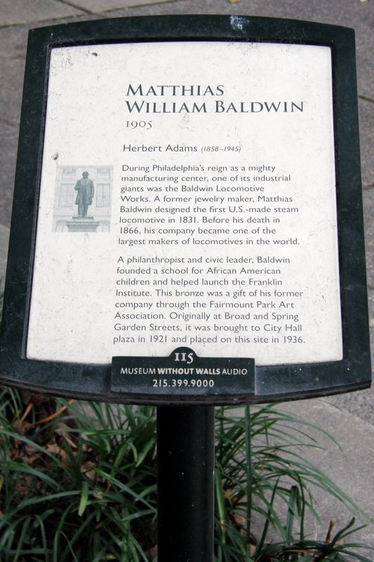 Matthias William Baldwin Marker image. Click for full size.