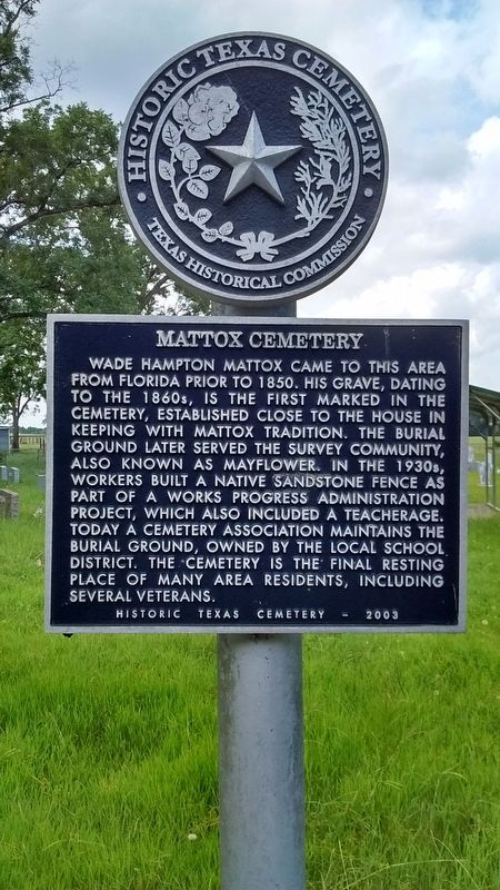 Mattox Cemetery Marker image. Click for full size.