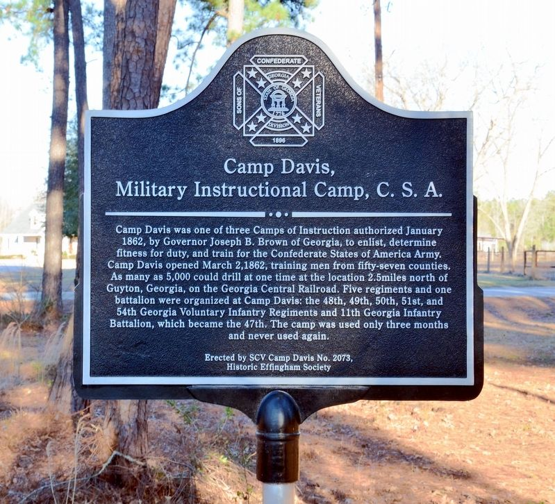 Camp Davis, Military Instructional Camp, C.S.A. Marker image. Click for full size.