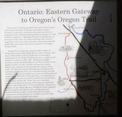Ontario: Eastern Gateway to Oregon's Oregon Trail Marker image. Click for full size.