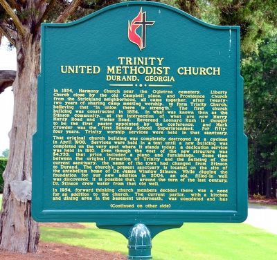 Trinity United Methodist Church Marker (Side 1) image. Click for full size.