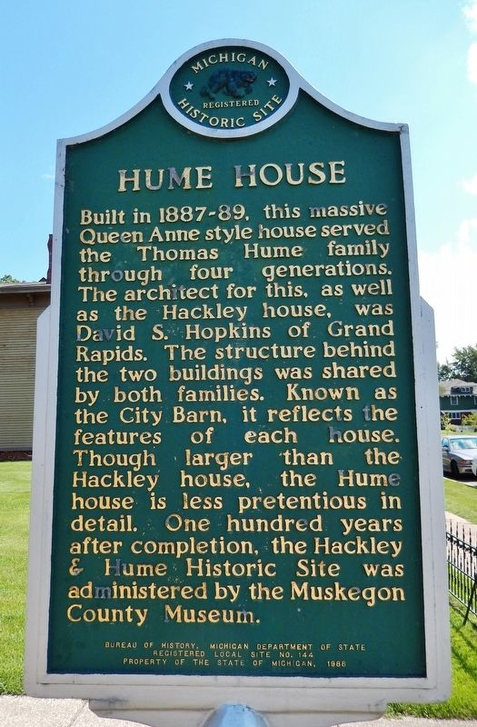 Hume House Marker (<b><i>side 1</b></i>) image. Click for full size.