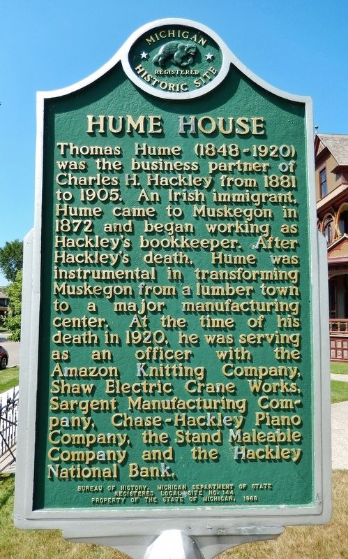 Hume House Marker (<b><i>side 2</b></i>) image. Click for full size.