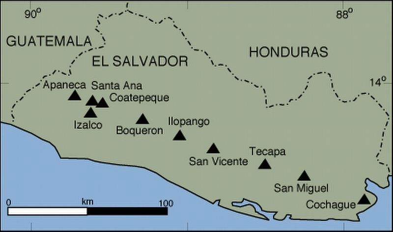 The main volcanos of El Salvador, from the marker image. Click for full size.