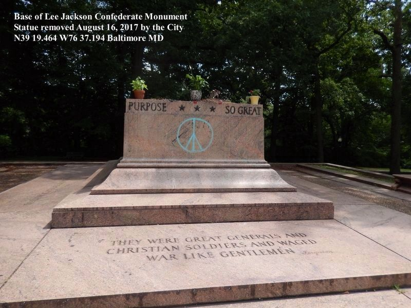 Lee Jackson Monument Marker-Base only image. Click for full size.