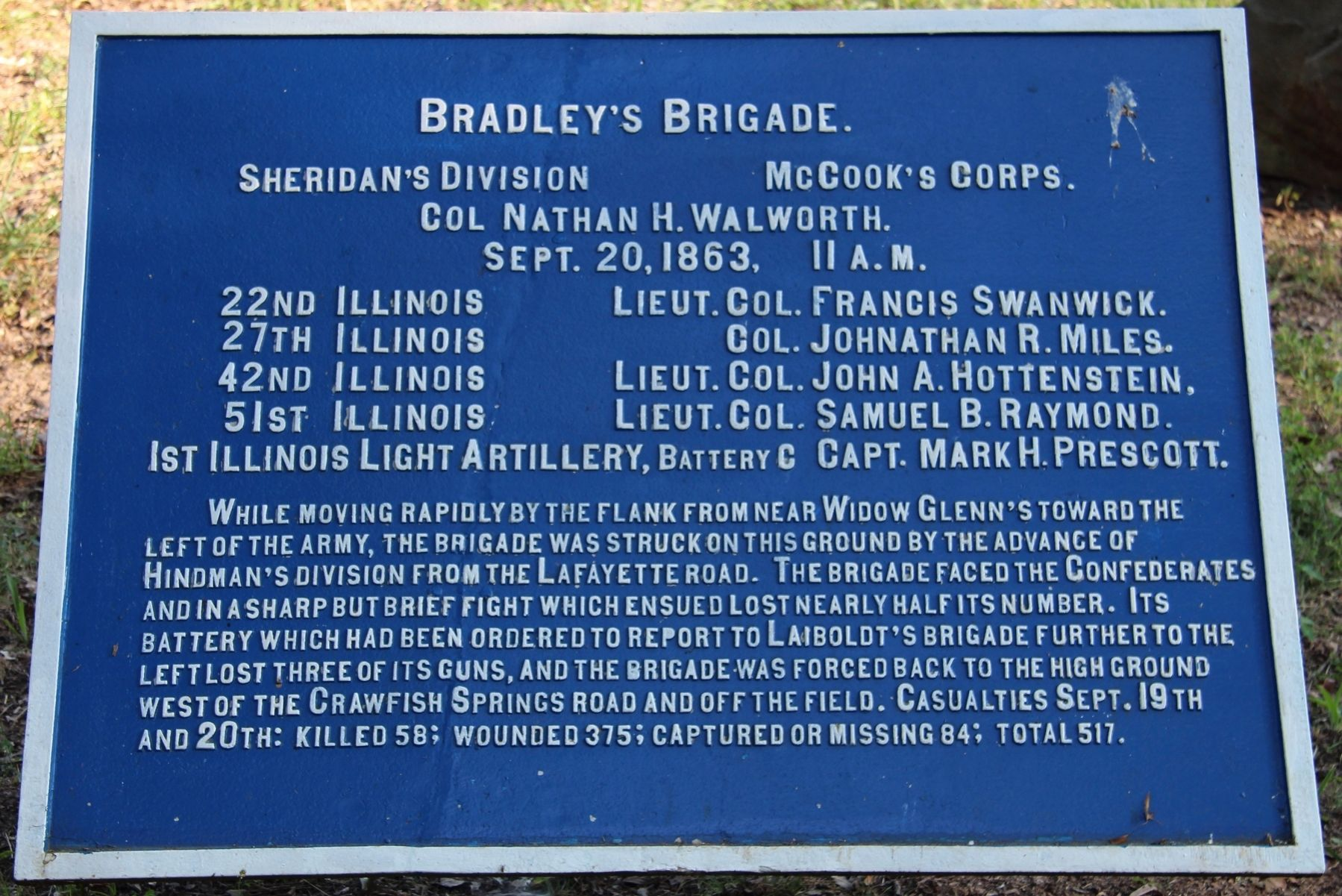 Bradley's Brigade Marker image. Click for full size.