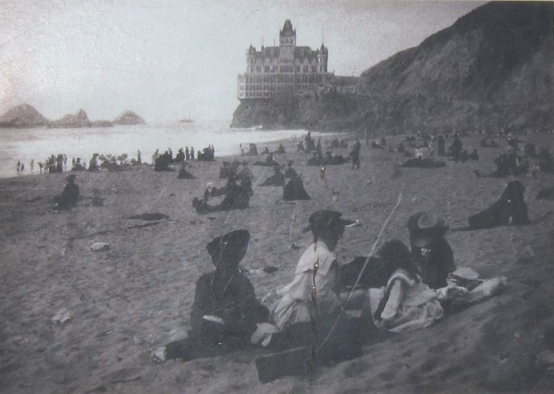 The Cliff House and Seal Rocks, Looking North From Ocean Beach (marker inset photo) image. Click for full size.