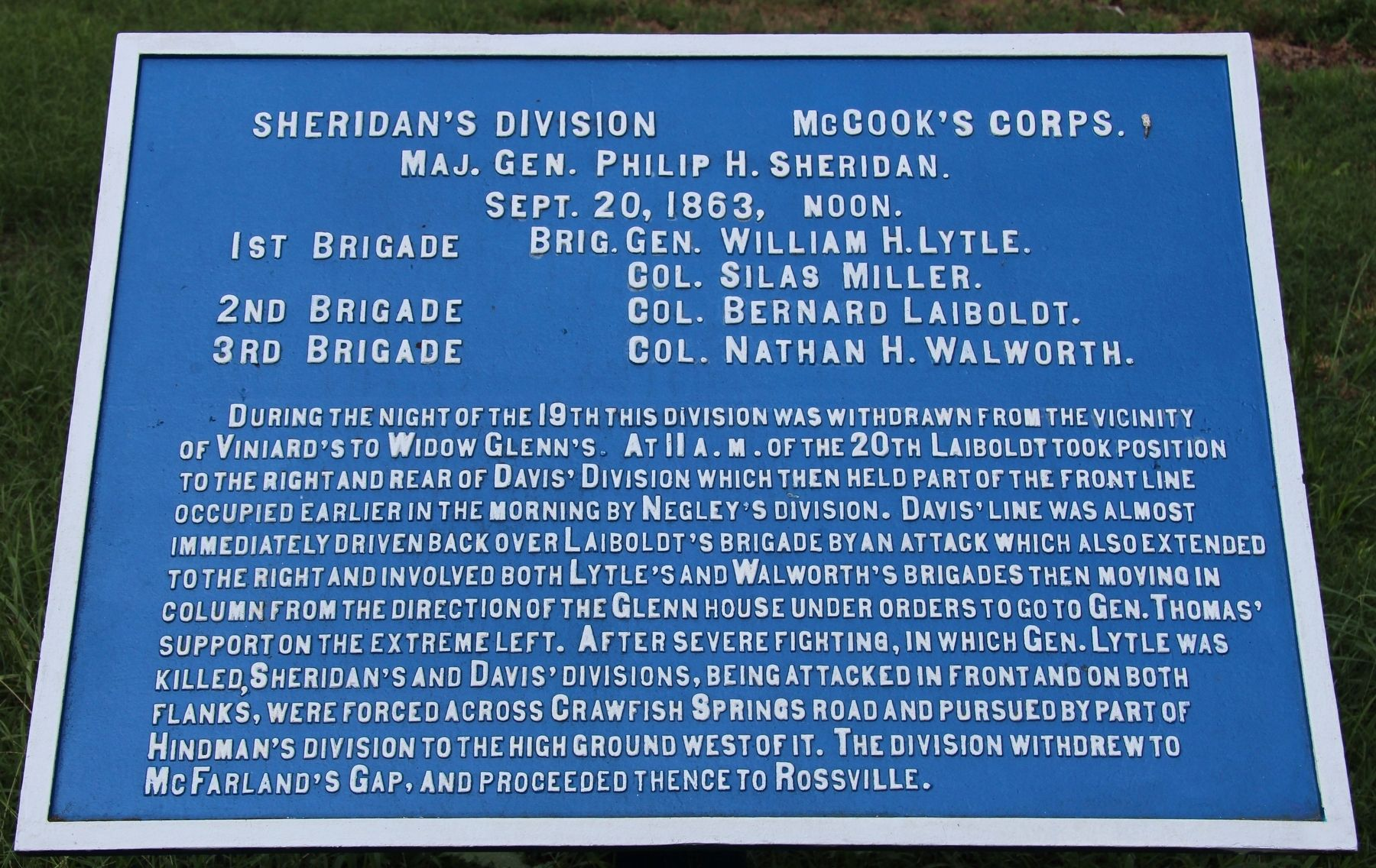 Sheridan's Division Marker image. Click for full size.