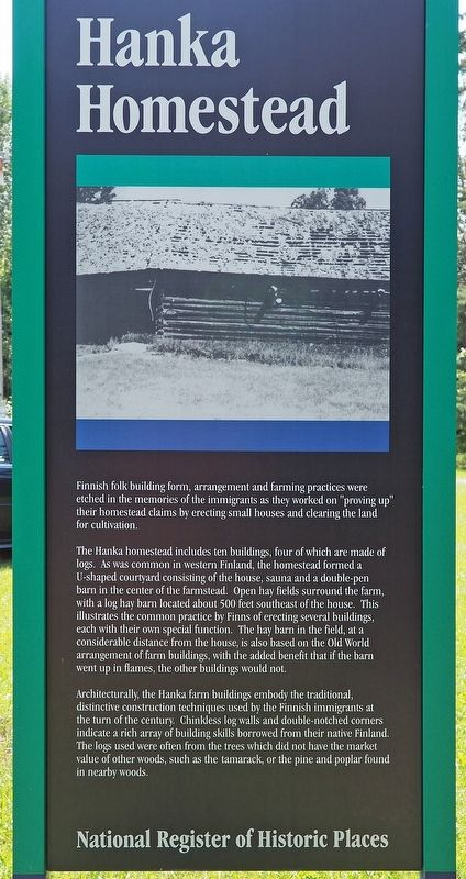 Hanka Homestead marker reverse image. Click for full size.