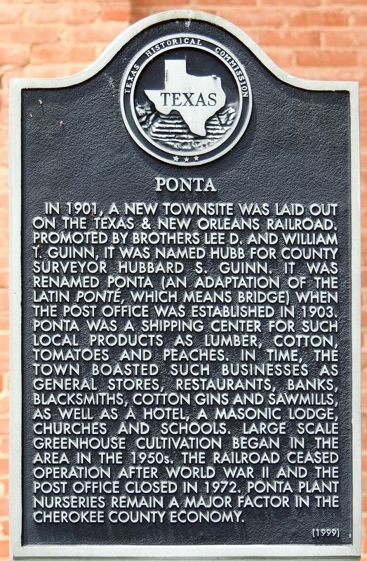 Ponta Texas Historical Marker image. Click for full size.