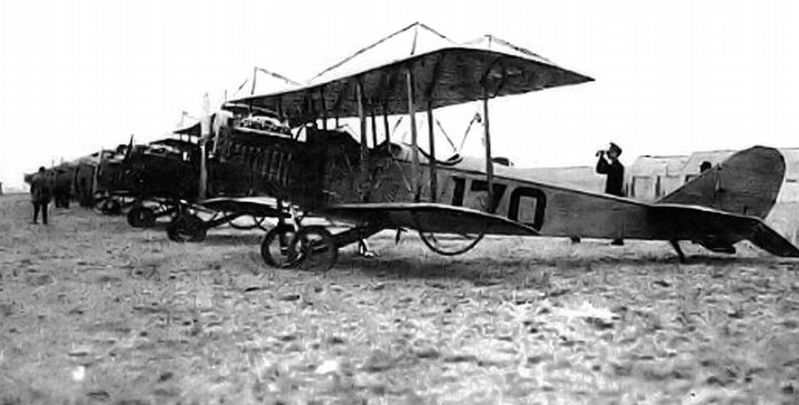 Payne Field - parked Curtiss JN-4 Training Aircraft, 1918 image. Click for full size.