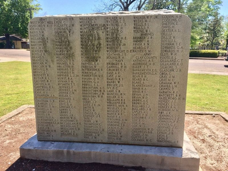 Clay County World War I Memorial (rear) image. Click for full size.