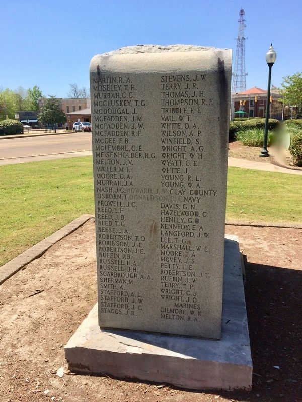 Clay County World War I Memorial (right side) image. Click for full size.