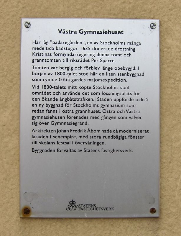 Västra Gymnasiehuset / Eastern School Building Marker image. Click for full size.