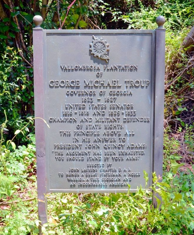 Vallombrosa Plantation of Governor George Michael Troup Marker image. Click for full size.