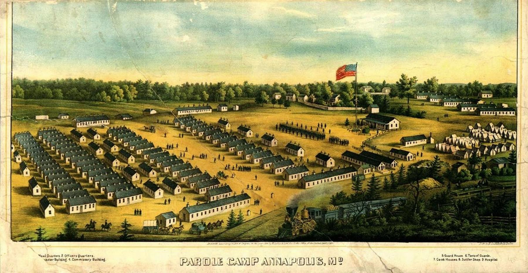 "The first Union Army ""parole camp"" for exchanged Northern prisoners of war, was opened in Annapolis. image. Click for full size."