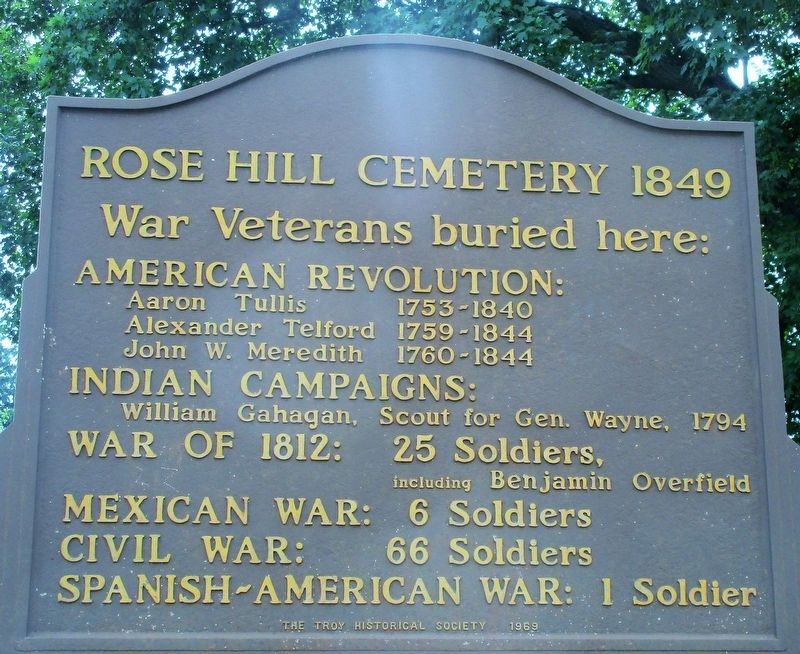 Rose Hill Cemetery 1849 Marker image. Click for full size.