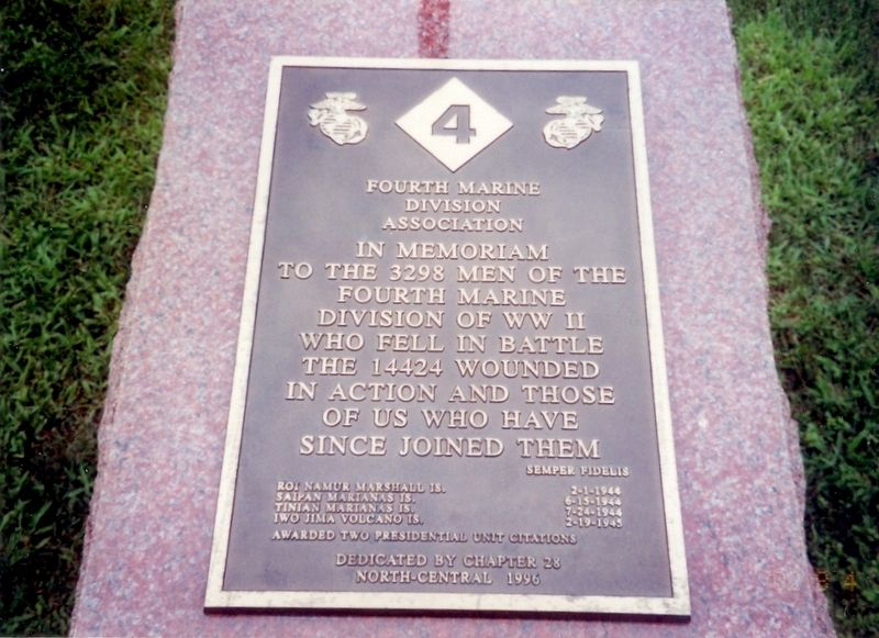 Fourth Marine Division Memorial Marker image. Click for full size.