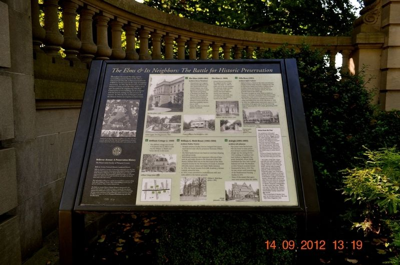 The Elms & Its Neighbors: The Battle for Historic Preservation Marker image. Click for full size.