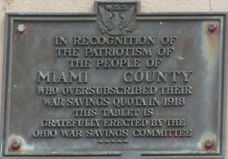 Miami County War Quota Plaque Marker image. Click for full size.