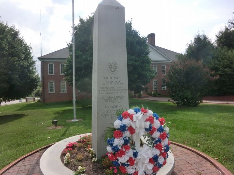 Yancey County War Memorial Marker-Front panel image. Click for full size.