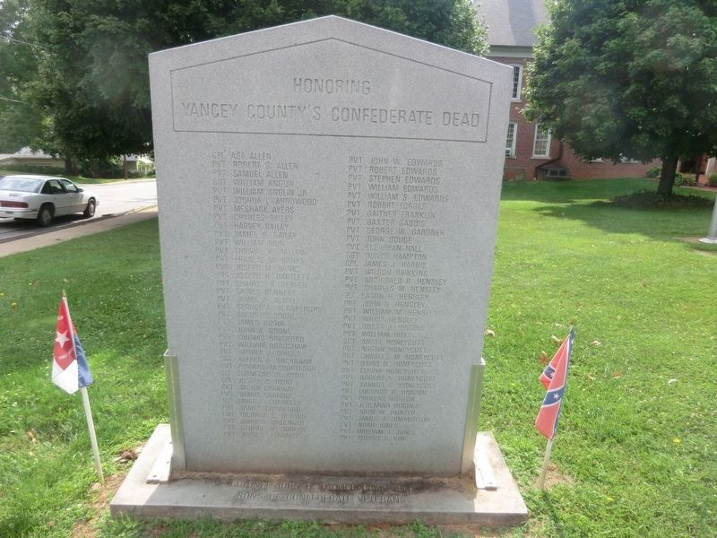 Honoring Yancey County's Confederate Dead Marker-Front panel image. Click for full size.