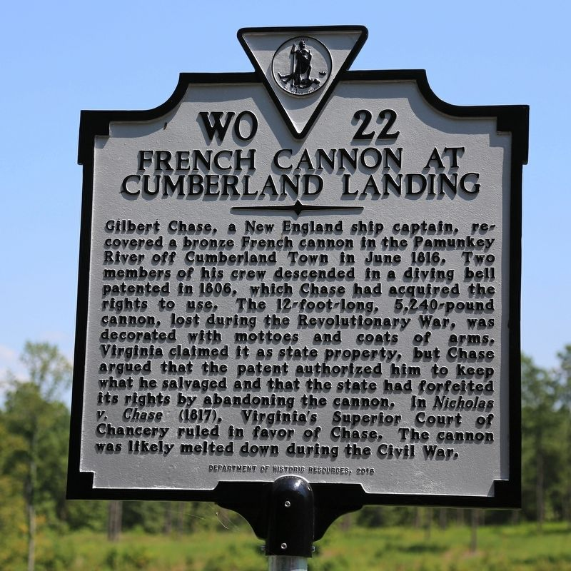 French Cannon at Cumberland Landing Marker image. Click for full size.